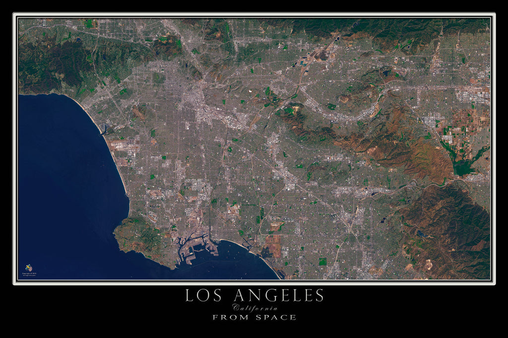 Los angeles california satellite poster map terraprints los angeles california satellite poster map terraprints gumiabroncs Image collections