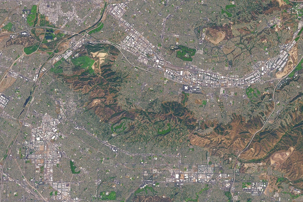 Los Angeles California From Space Satellite Poster Map