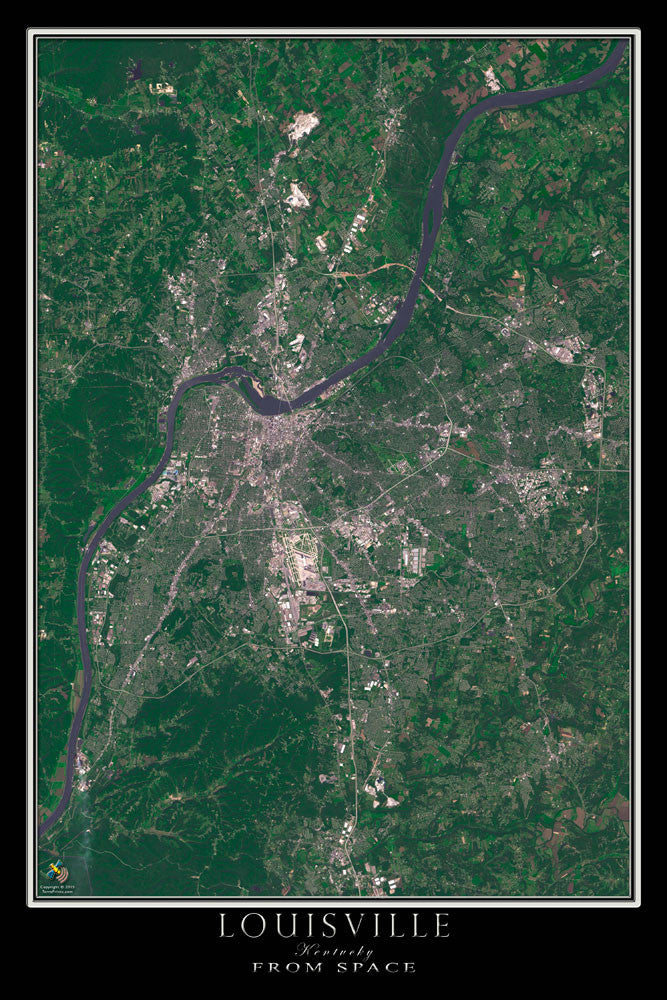 Louisville Kentucky From Space Satellite Poster Map - TerraPrints.com