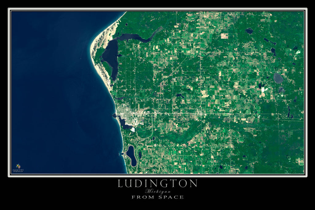 Ludington Michigan From Space Satellite Poster Map - TerraPrints.com
