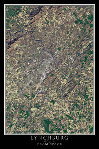 Lynchburg Virginia From Space Satellite Poster Map by TerraPrints.com. Available in multiple sizes with free shipping in the USA.