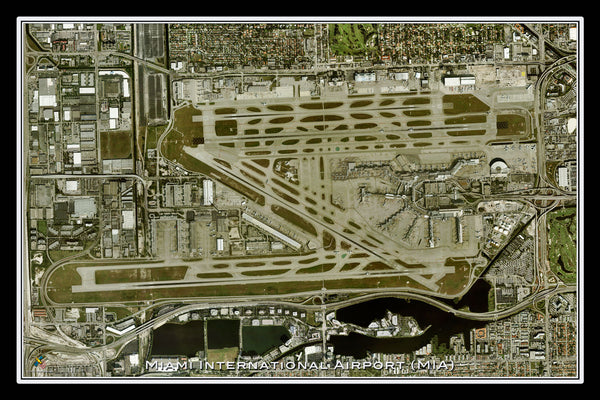 The Miami Intl Airport Florida Satellite Poster Map