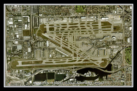 Miami Intl Airport Florida Satellite Poster Map