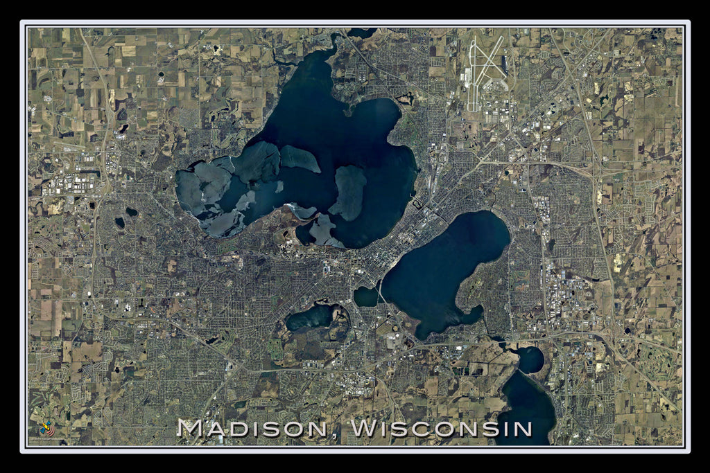 Madison Wisconsin From Space Satellite Poster Map - TerraPrints.com