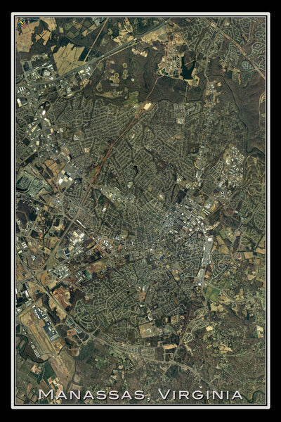 Manassas Virginia From Space Satellite Poster Map by TerraPrints.com. Available in multiple sizes with free shipping in the USA.
