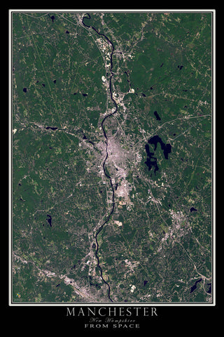 Manchester New Hampshire From Space Satellite Poster Map - TerraPrints.com