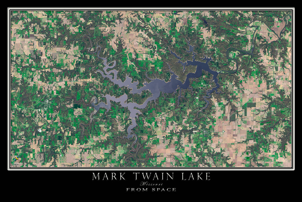 Mark Twain Lake Missouri Satellite Poster Map - TerraPrints.com