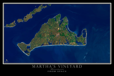 Marthas Vineyard Massachusetts From Space Satellite Poster Map by TerraPrints.com. Available in multiple sizes with free shipping in the USA.