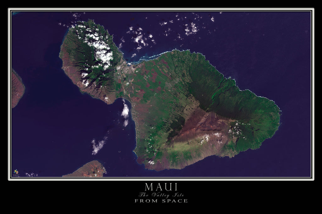 Maui Island Hawaii Satellite Poster Map - TerraPrints.com