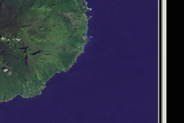 Maui Island Hawaii From Space Satellite Poster Map