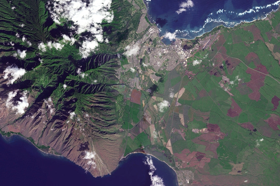 The Maui Island Hawaii Satellite Poster Map