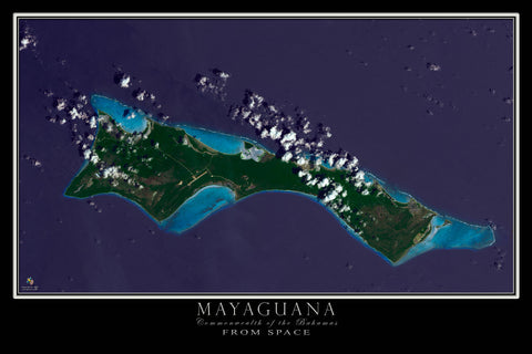 Mayaguana Bahamas Satellite Map by TerraPrints.com. Available in multiple sizes with free shipping in the USA.