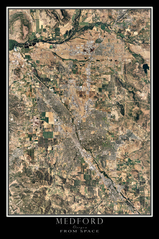 Medford Oregon From Space Satellite Poster Map by TerraPrints.com. Available in multiple sizes with free shipping in the USA.