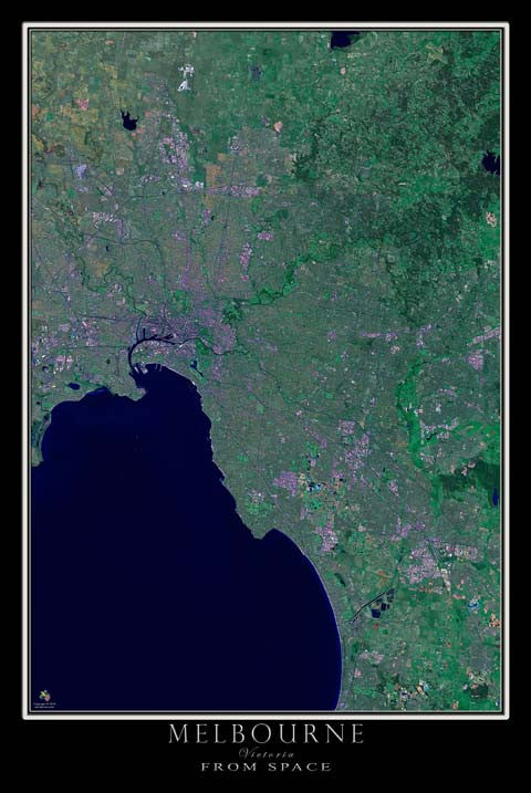 Melbourne Victoria Australia Satellite Poster Map by TerraPrints.com. Available in multiple sizes with free shipping in the USA. - 1