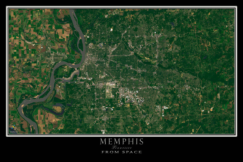 Memphis Tennessee From Space Satellite Poster Map - TerraPrints.com