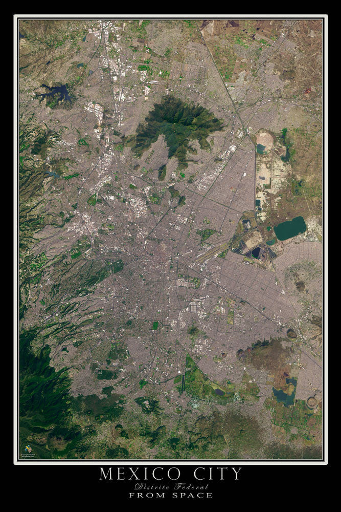 Mexico City From Space Satellite Poster Map by TerraPrints.com. Available in multiple sizes with free shipping in the USA.