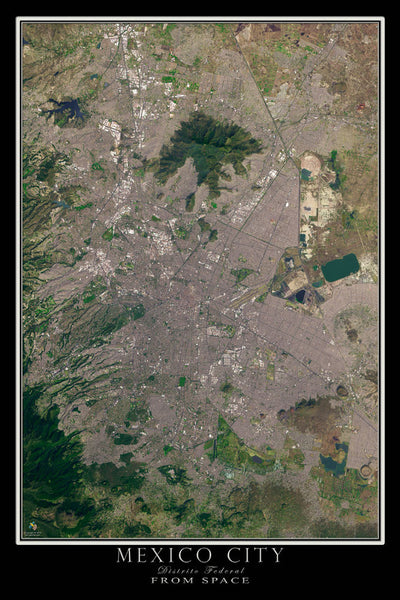 mexico city from space satellite poster map free shipping