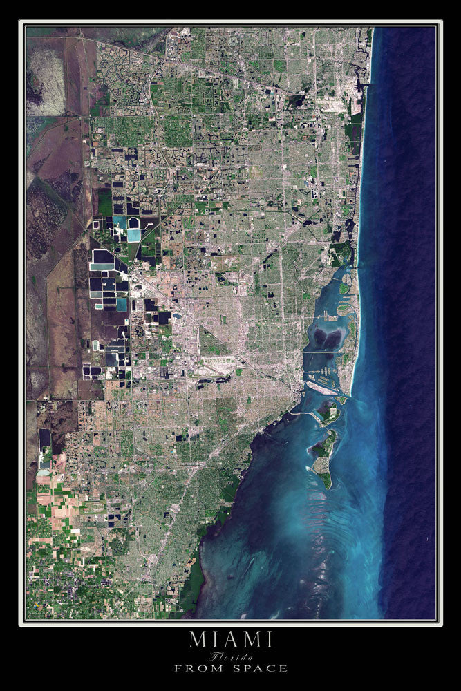 Miami Florida Satellite Poster Map