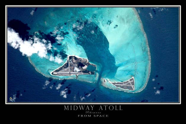Midway Atoll From Space Satellite Poster Map by TerraPrints.com. Available in multiple sizes with free shipping in the USA. - 1