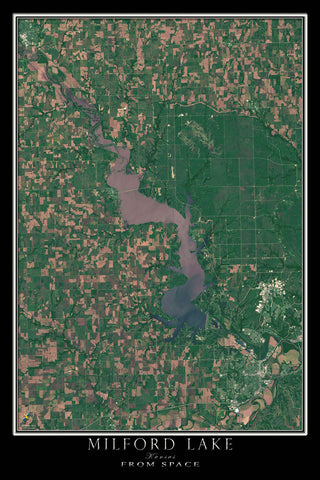 Milford Lake Kansas From Space Satellite Poster Map by TerraPrints.com. Available in multiple sizes with free shipping in the USA.