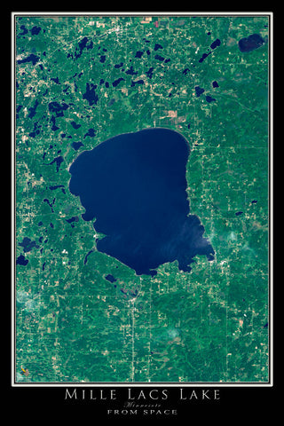 Mille Lacs Lake Minnesota From Space Satellite Poster Map - TerraPrints.com