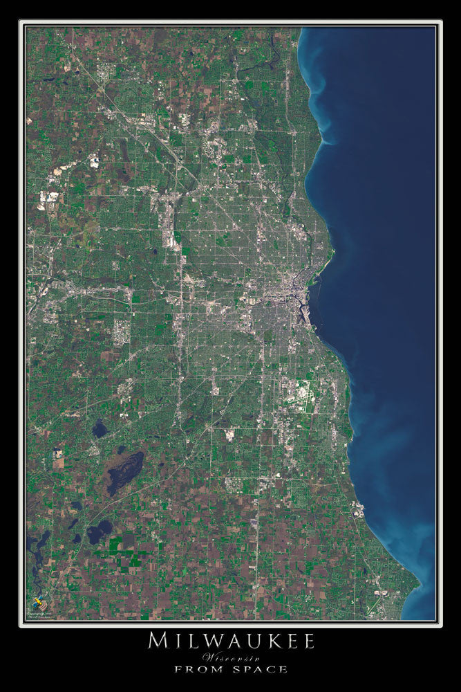 Milwaukee Wisconsin From Space Satellite Poster Map - TerraPrints.com