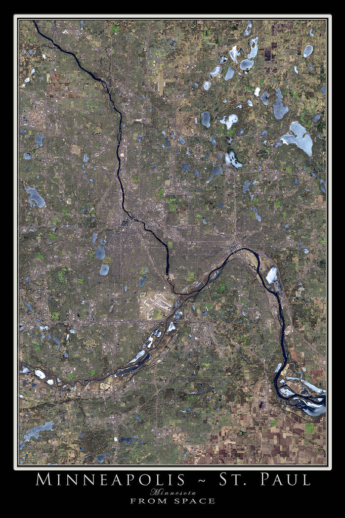 Minneapolis - St Paul Minnesota From Space Satellite Poster Map - TerraPrints.com