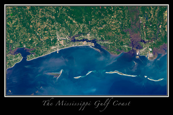 Gulf Coast of Mississippi Satellite Poster Map - TerraPrints.com