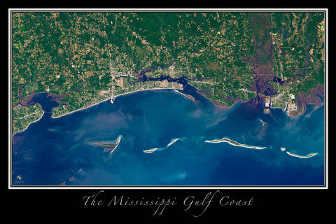 Gulf Coast of Mississippi From Space Satellite Poster Map - TerraPrints.com