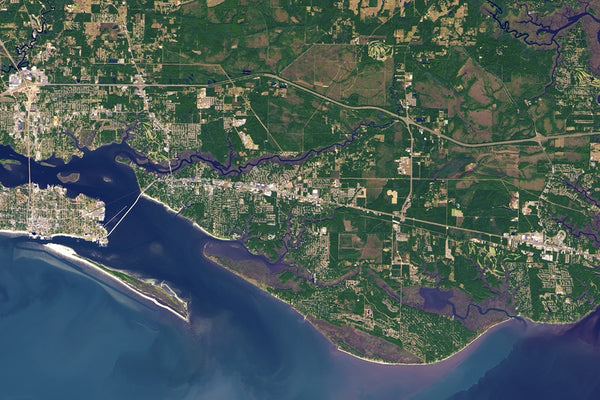 Gulf Coast of Mississippi From Space Satellite Poster Map