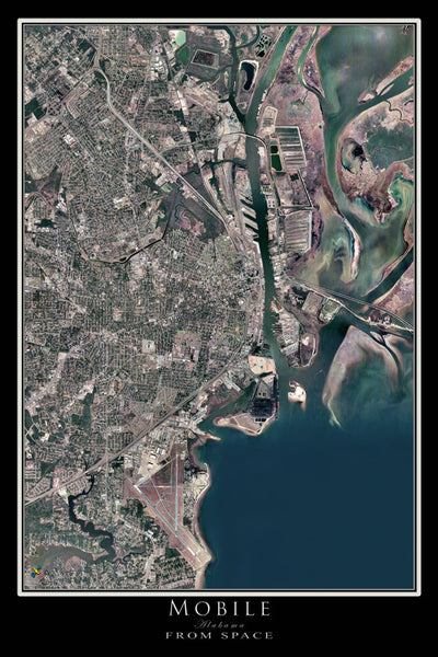 Mobile Alabama Satellite Poster Map