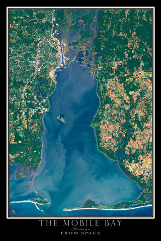 Mobile Bay Alabama From Space Satellite Poster Map by TerraPrints.com. Available in multiple sizes with free shipping in the USA.