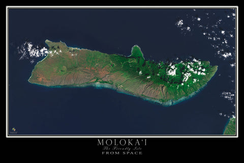 Molokai Island Hawaii From Space Satellite Poster Map by TerraPrints.com. Available in multiple sizes with free shipping in the USA.