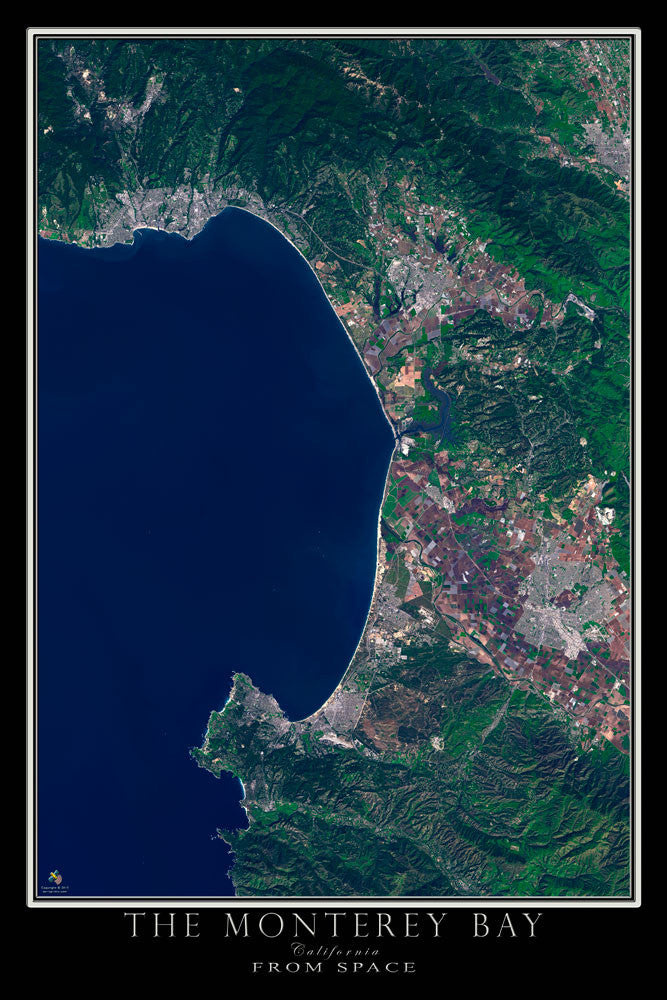 Monterey Bay California From Space Satellite Poster Map - TerraPrints.com