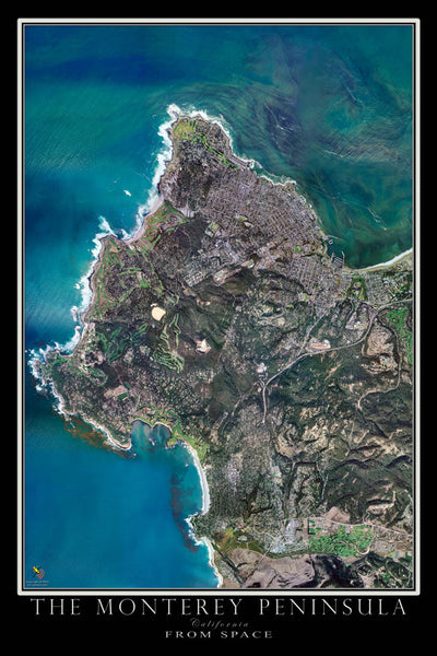 Monterey Peninsula of California From Space Satellite Poster Map by TerraPrints.com. Available in multiple sizes with free shipping in the USA. - 1