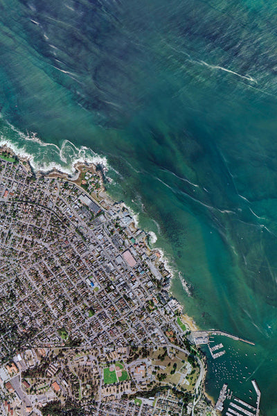 Monterey Peninsula of California From Space Satellite Poster Map