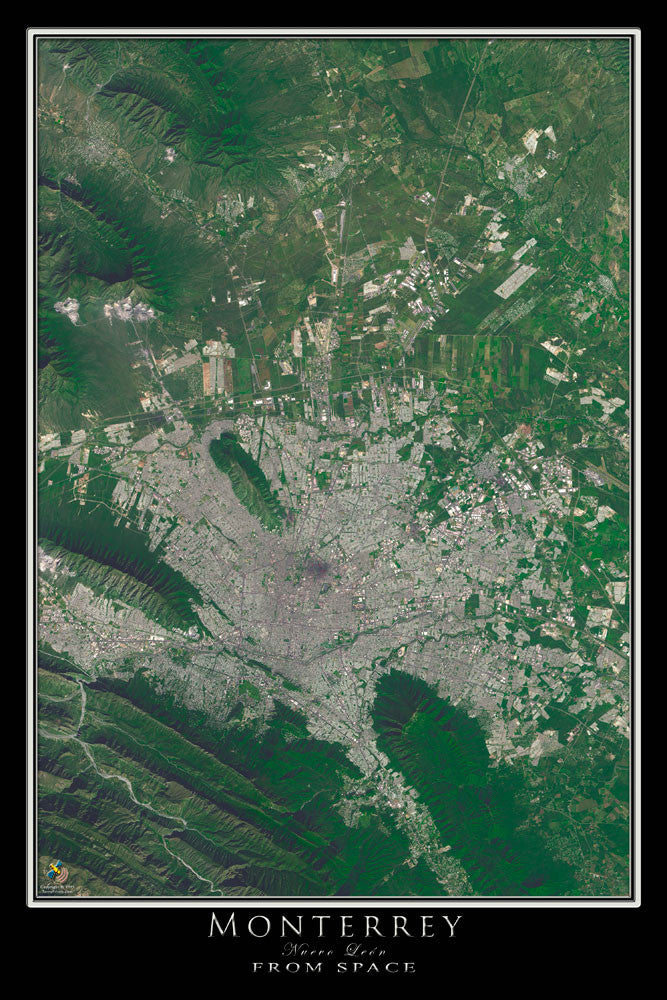 Monterrey Mexico From Space Satellite Poster Map by TerraPrints.com. Available in multiple sizes with free shipping in the USA.