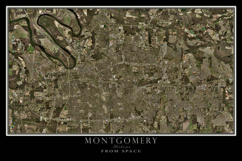 Montgomery Alabama From Space Satellite Poster Map - TerraPrints.com