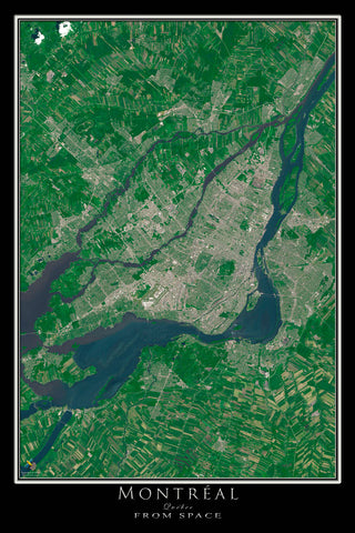 Montreal Quebec From Space Satellite Poster Map - TerraPrints.com