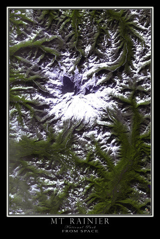 Mount Rainier National Park Washington From Space Satellite Poster Map by TerraPrints.com. Available in multiple sizes with free shipping in the USA.