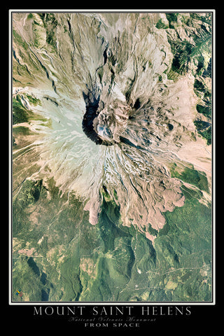 Mount Saint Helens National Monument Washington From Space Satellite Poster Map by TerraPrints.com. Available in multiple sizes with free shipping in the USA.