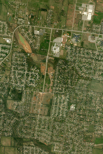 Murfreesboro Tennessee From Space Satellite Poster Map