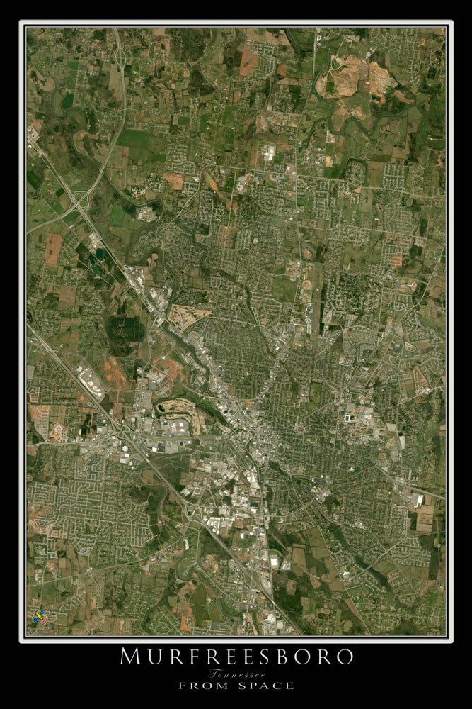 Murfreesboro Tennessee From Space Satellite Poster Map - TerraPrints.com
