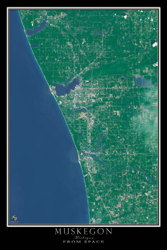 Muskegon Michigan From Space Satellite Poster Map by TerraPrints.com. Available in multiple sizes with free shipping in the USA.
