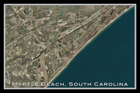 Myrtle Beach South Carolina From Space Satellite Poster Map - TerraPrints.com