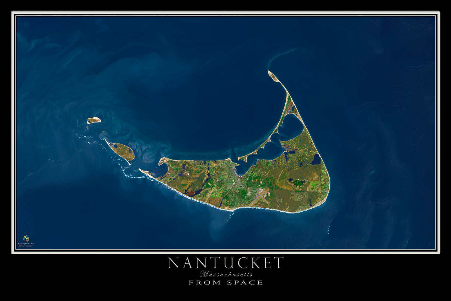 Nantucket Massachusetts Satellite Poster Map by TerraPrints.com. Available in multiple sizes with free shipping in the USA.