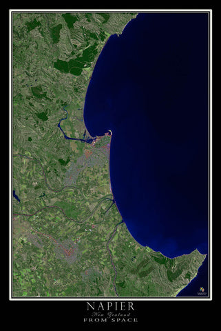 Napier New Zealand From Space Satellite Poster Map - TerraPrints.com