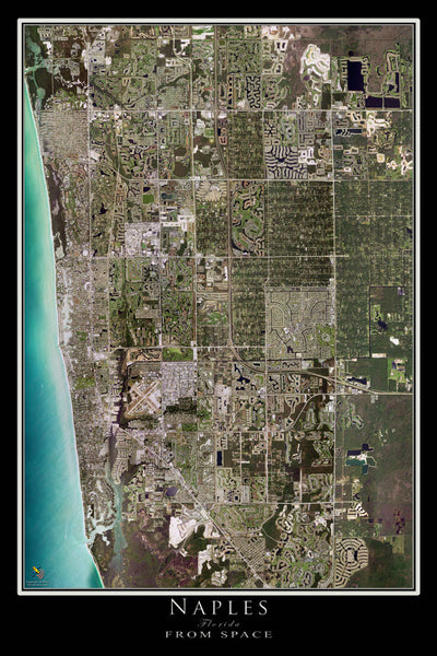 Naples Florida Satellite Poster Map aerial views from