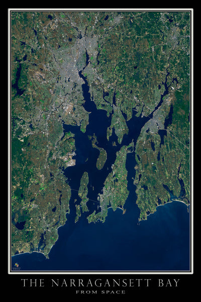 Narragansett Bay Rhode Island - Massachusetts From Space Satellite Poster Map by TerraPrints.com. Available in multiple sizes with free shipping in the USA.