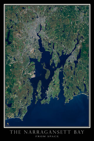Narragansett Bay Rhode Island - Massachusetts From Space Satellite Poster Map - TerraPrints.com